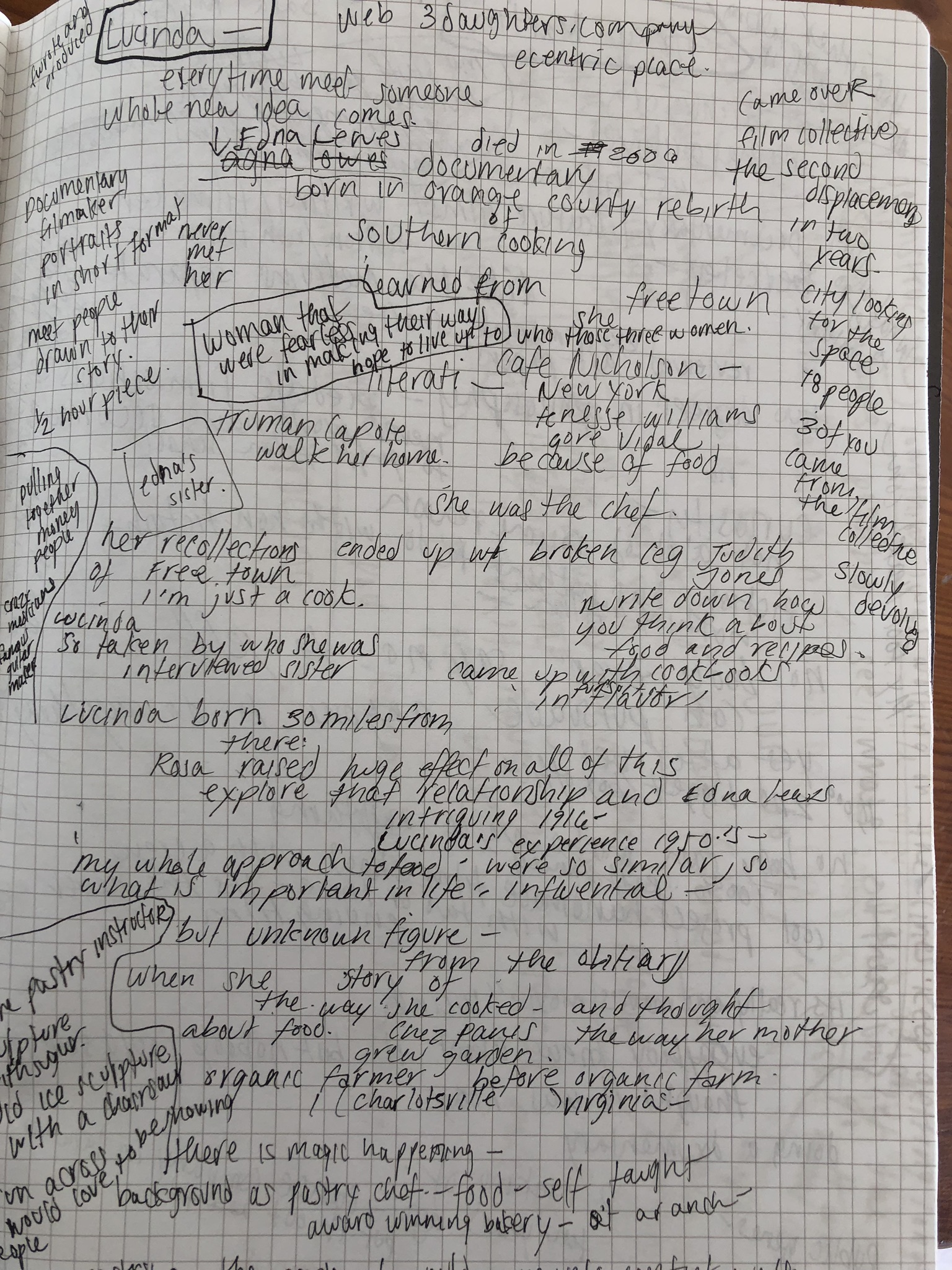 Interview notes with Lucinda Buxton Martin