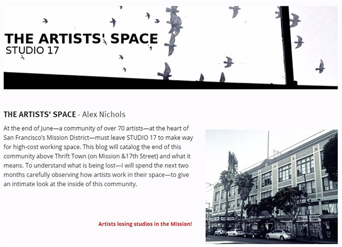 San Francisco The Artists' Space Studio 17 by artist and writer Alex Nichols